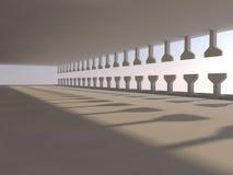Grand rendu léger vide du hall 3D Photographie stock libre de droits