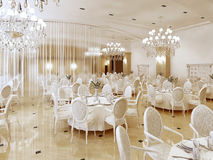 Grand restaurant and a ballroom in a luxury hotel. Stock Photos