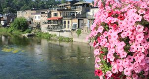 Grand River at Paris, Ontario, Canada with flowers in front 4K stock footage
