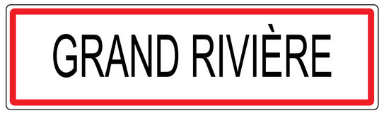 Grand Riviere city traffic sign illustration in France Stock Photos