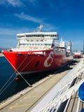 Grand rouge de bateau Photos stock
