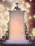 Grand rouleau congelé de liste de souhaits avec l'arbre de Noël et présents à l'arrière-plan photographie stock