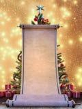 Grand rouleau de liste de souhaits avec l'arbre de Noël et présents à l'arrière-plan photos libres de droits