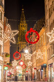 Grand Rue with Christmas decorations, a pedestrian street in Str Royalty Free Stock Image