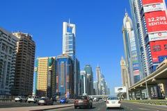 Grand-rue du centre de Dubaï Photographie stock