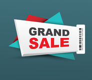 Grand sale banner with barcode. Stock Photos