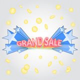 Grand sale promotional cartoon banner. Grand sale cartoon banner. Promotional banner with blast of blue stars and falling coin Royalty Free Stock Photography