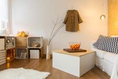 Grand salon confortable conçu dans le style de vintage image libre de droits