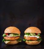 Grand sandwich - hamburger avec l'hamburger juteux de poulet photographie stock
