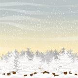 Grand sapin velu, couvert de neige en clairière Matin ou jour d'hiver Horizontal de vecteur Photographie stock