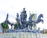 Grand sculpture of a warrior on a chariot of four horses Royalty Free Stock Photo