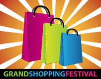 Grand shopping festival. Colourful shopping bags created as  art Royalty Free Stock Photo