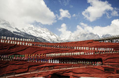 The grand show in LIJIANG. The grand Impression Lijiang show in LIJIANG, CHINA, snow mountain backdrop royalty free stock image