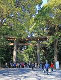 Grand Shrine Gate at Meiji Jingu Temple, Tokyo Royalty Free Stock Images