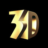 Grand signe 3d d'or Images libres de droits