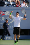 Grand Slam Champion Andy Murray celebrates victory after fourth round match at US Open 2014 Royalty Free Stock Image