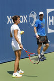 Grand Slam Champion Andy Murray practices with his coach Amelie Mauresmo for US Open 2014 Royalty Free Stock Photos