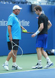 Grand Slam Champion Andy Murray (R) practices with his coach Grand Slam Champion Ivan Lendl for US Open 2016 Stock Image
