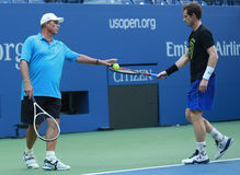 Grand Slam Champion Andy Murray (R) practices with his coach Grand Slam Champion Ivan Lendl for US Open 2016 Stock Photography
