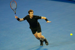 Grand Slam champion Andy Murray of United Kingdom in action during his Australian Open 2016 final match Stock Photos