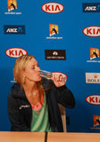 Grand Slam champion Angelique Kerber of Germany celebrates victory during press conference at Australian Open 2016 Stock Photo