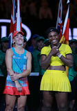 Grand Slam champion Angelique Kerber of Germany L and Australian Open 2016 finalist Serena Williams during trophy presentation Stock Photo