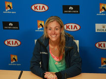 Grand Slam champion Angelique Kerber of Germany during press conference after victory at Australian Open 2016 Stock Photos