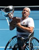 Grand Slam champion Dylan Alcott of Australia during trophy presentation after 2019 Australian Open quad wheelchair singles final. MELBOURNE, AUSTRALIA - JANUARY stock images