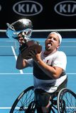 Grand Slam champion Dylan Alcott of Australia during trophy presentation after 2019 Australian Open quad wheelchair singles final. MELBOURNE, AUSTRALIA - JANUARY stock photography