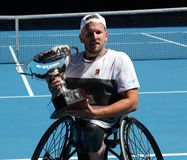 Grand Slam champion Dylan Alcott of Australia during trophy presentation after 2019 Australian Open quad wheelchair singles final. MELBOURNE, AUSTRALIA - JANUARY stock photo