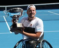 Grand Slam champion Dylan Alcott of Australia during trophy presentation after 2019 Australian Open quad wheelchair singles final. MELBOURNE, AUSTRALIA - JANUARY stock image