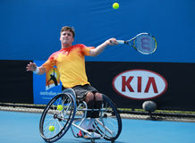 Grand Slam champion Gordon Reid of Great Britain in action during Australian Open 2016 wheelchair singles final match Stock Images