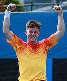 Grand Slam champion Gordon Reid of Great Britain celebrates victory after Australian Open 2016 wheelchair singles final match Royalty Free Stock Images