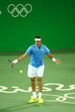 Grand Slam Champion Juan Martin Del Porto of Argentina in action during men`s singles first round match of the Rio 2016 Olympics Stock Images