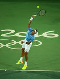 Grand Slam Champion Juan Martin Del Porto of Argentina in action during men`s singles first round match of the Rio 2016 Olympics Royalty Free Stock Image