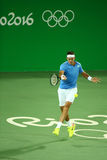 Grand Slam Champion Juan Martin Del Porto of Argentina in action during men`s singles first round match of the Rio 2016 Olympics Stock Image
