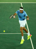 Grand Slam Champion Juan Martin Del Porto of Argentina in action during men`s singles first round match of the Rio 2016 Olympics Stock Photography
