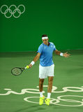 Grand Slam Champion Juan Martin Del Porto of Argentina in action during men`s singles first round match of the Rio 2016 Olympics Royalty Free Stock Photography