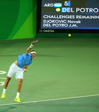 Grand Slam Champion Juan Martin Del Porto of Argentina in action during men's singles match of the Rio 2016 Olympic Games Royalty Free Stock Image
