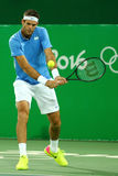 Grand Slam Champion Juan Martin Del Porto of Argentina in action during men`s singles quarterfinal of the Rio 2016 Olympic Games Royalty Free Stock Image