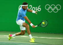 Grand Slam Champion Juan Martin Del Porto of Argentina in action during men`s singles quarterfinal of the Rio 2016 Olympic Games Stock Photography
