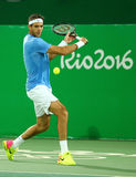 Grand Slam Champion Juan Martin Del Porto of Argentina in action during men`s singles quarterfinal of the Rio 2016 Olympic Games Royalty Free Stock Photography