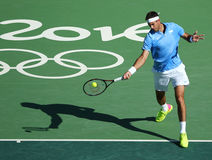 Grand Slam Champion Juan Martin Del Porto of Argentina in action during men's singles semifinal of the Rio 2016 Olympics Stock Image