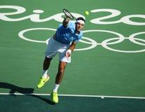 Grand Slam Champion Juan Martin Del Porto of Argentina in action during men's singles semifinal of the Rio 2016 Olympics Stock Photo