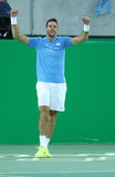 Grand Slam Champion Juan Martin Del Porto of Argentina celebrates victory after singles semifinal of the Rio 2016 Olympic Games Royalty Free Stock Photo