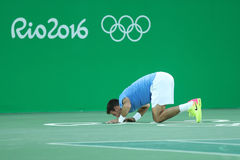 Grand Slam Champion Juan Martin Del Porto of Argentina celebrates victory after singles semifinal of the Rio 2016 Olympic Games Stock Images