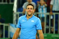 Grand Slam Champion Juan Martin Del Porto of Argentina after victory at men`s singles quarterfinal of the Rio 2016 Olympic Games Stock Photos