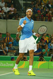 Grand Slam champion Juan Martin Del Potro of Argentina in action during his men singles final match of the Rio 2016 Olympic Games Royalty Free Stock Image