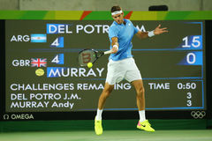 Grand Slam champion Juan Martin Del Potro of Argentina in action during his men singles final match of the Rio 2016 Olympic Games Stock Photography