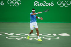 Grand Slam champion Juan Martin Del Potro of Argentina in action during his men singles final match of the Rio 2016 Olympic Games Royalty Free Stock Photography